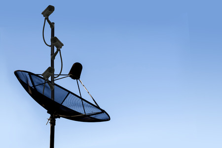 security technology: Satellite dish sky communication technology network and CCTV security