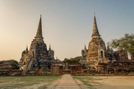 ayuthaya: Ayutthaya Thailand - ancient city and historical place. Wat Phra Si Sanphet.  Stock Photo