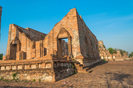 architecture ancient: Wat Kudi Dao old temple. Asian religious architecture. Ancient pagoda at ayutthaya, thailand