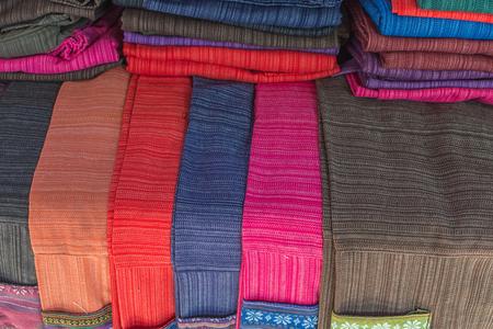 ayothaya: Textile designs on the market in Ayothaya Floating Market at Ayutthaya, Thailand