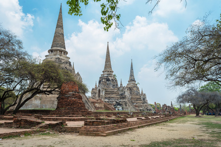 architecture ancient: Wat Phra Sri Sanphet old temple. Asian religious architecture. Ancient pagoda at ayutthaya, thailand