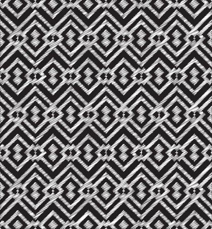 Chalkboard doodle Tribal Aztec Seamless Pattern. Geometric Vector illustration Illustration