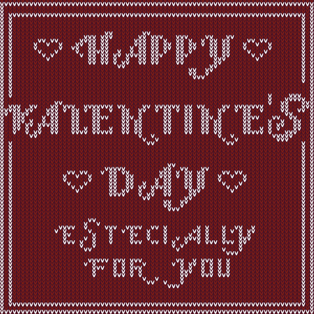 especially: Vetor Abstract, Valentines Day Especially for you. Design Vintage Knitted Pattern. Seamless Background Illustration