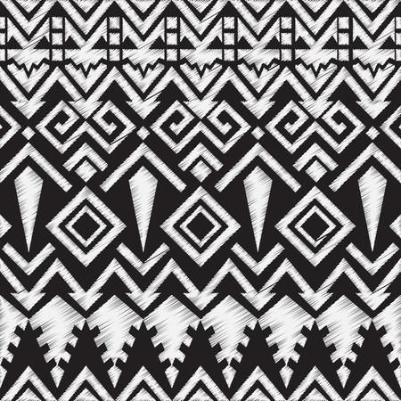 tribales: Doodle Pizarra Modelo tribal azteca sin costuras. Ilustración vectorial geométrica
