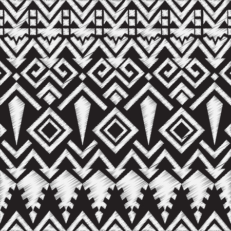 tribales: Doodle Pizarra Modelo tribal azteca sin costuras. Ilustraci�n vectorial geom�trica