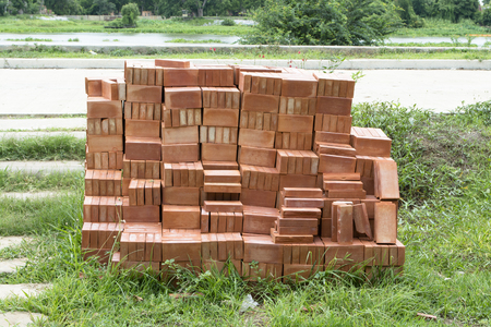 red clay: Stack of red clay bricks