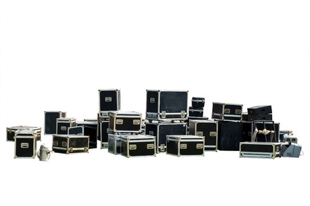 moving crate: Equipment crate isolated for music-related shipping, Clipping path