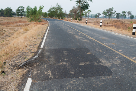 Asphalt surface on the street was demolished due to poor construction.