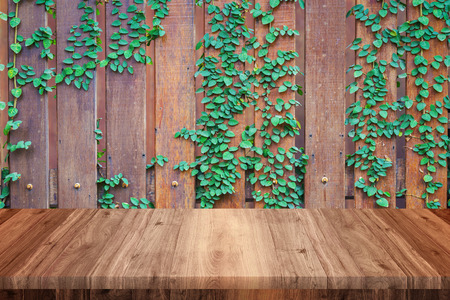 Empty wooden table with wood and vine wall background Stock Photo