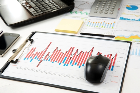 financial planner: Close up of modern business details  Stock Photo