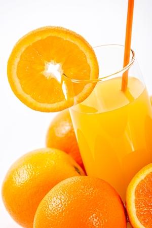 Glass of orange juice, isolated on white background  photo