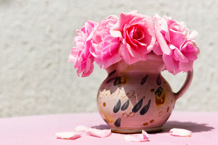 Beautiful small vase with pink flowers