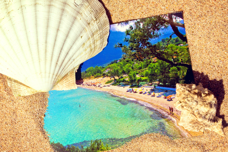 Summertime post card,with sea shells,at the beach Stock Photo