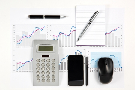 Close up of modern business elements  photo