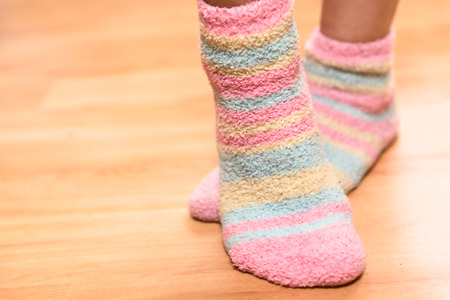 Close up of a colorful soft socks