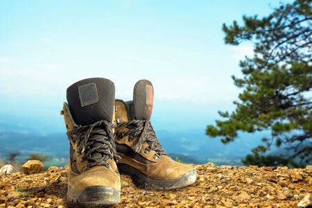hiking shoes: Hiking boots in an outdoor environment