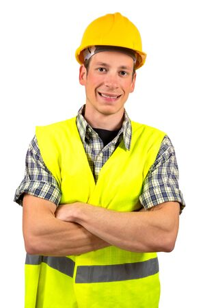 hard worker: Construction worker smiling,isolated on white background. Stock Photo