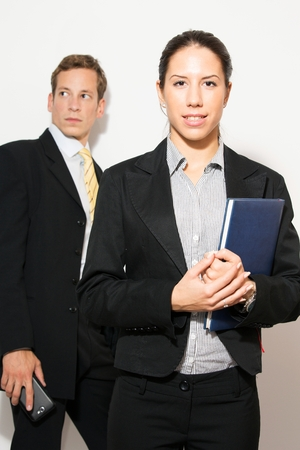 bad planning: Male and female model(business dressed),in different office scenarios.