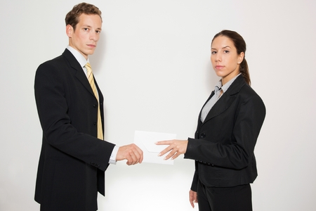 rewards: Corrupted office workers. Stock Photo