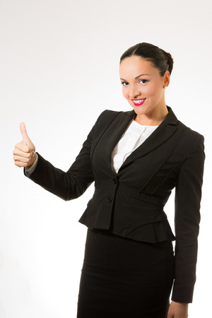 good deal: Successful young business woman isolated on white background. Stock Photo