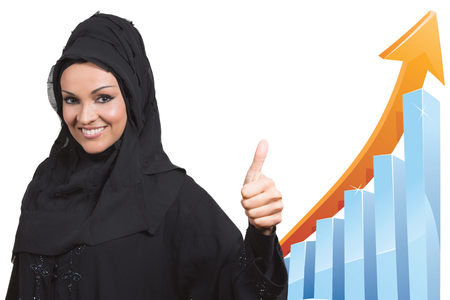 arabic woman: Arabic business woman,smiling and showing a thumb up.