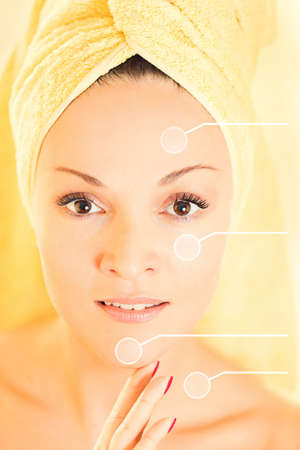 clear skin: Close up of a beautiful young woman during skincare treatment. Stock Photo