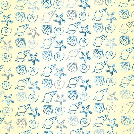 Sea shells pattern. Vector illustration. Vector