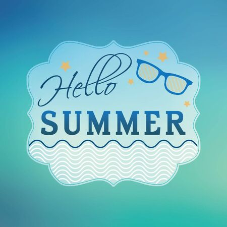 seacoast: Hello summer concept. Typographic design on blurred background.