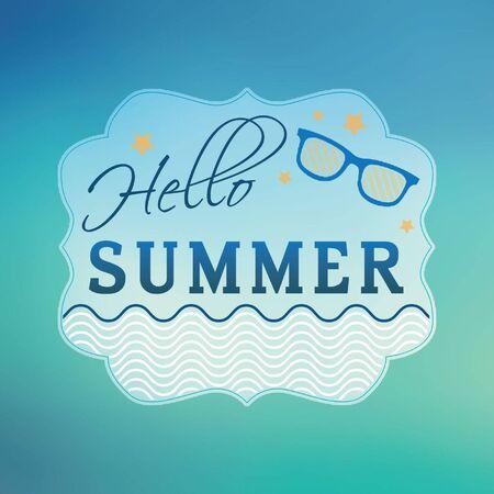 say hello: Hello summer concept. Typographic design on blurred background.