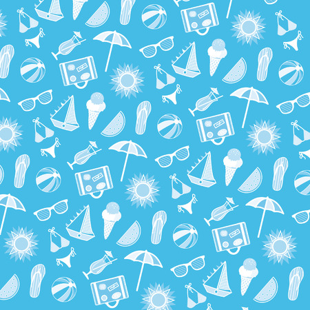 Vector beach pattern for summer. White elements on blue background.