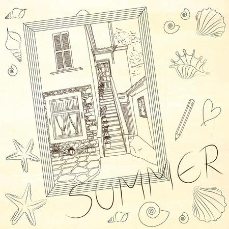 time frame: Summer time drawing. Wooden frame with sea shells. Vector illustration. Illustration