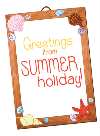 Summer holiday greetings place. Wooden frame with sea shells. Vector illustration. Vector