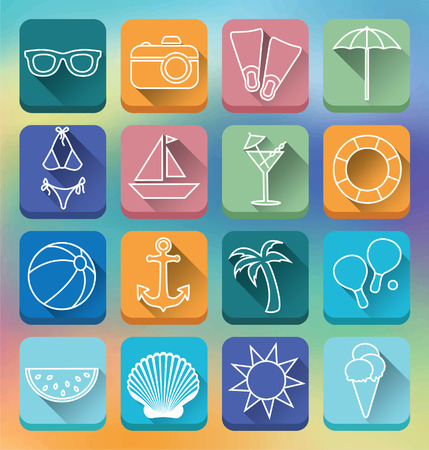 Set of linear flat icons with long shadow effects.Holidays sea and beach symbols. Colorful vector illustration. Vector
