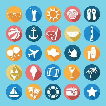 Set of flat icon with long shadow effects.Holidays sea and beach symbols. Vector illustration. Vector