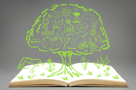 life style people: Ecology concept iconsdrawn on top of empty bookgrouped inside green tree.