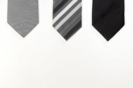 Set of tree men necktie. Top view.