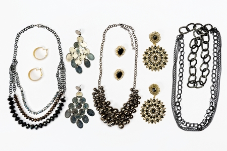Jewelry black and gold design collection. Top view.