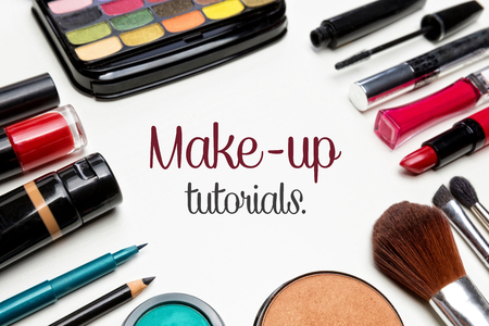 Make up set with text in the center.