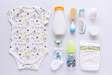 unisex: Top view of unisex newborn baby necessities. Stock Photo