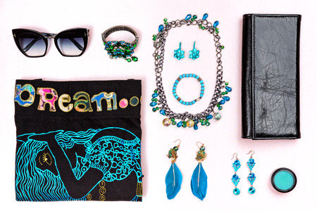 Black and blue casual woman accessories and style.