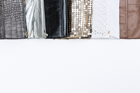 Set of various woman stylish purses. To view.