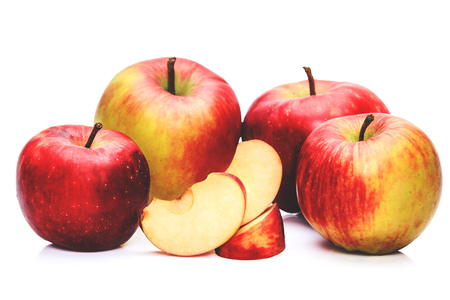 Nutrition facts and health benefits of apples. Group of delicious fresh organic apples.