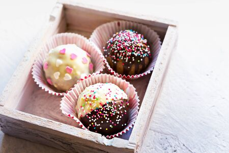 Close up of chocolate cupcakes against bright background.