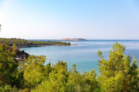 View of the mediterranean sea horizon through the woods.