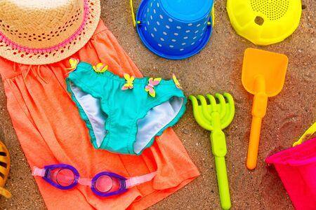 Close up of kids beach accessories.