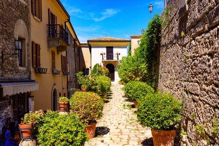 Old cobble-stoned alley of San Marino. Archivio Fotografico