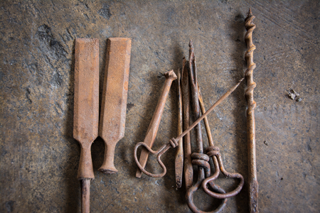 Old collection toolkit. Stock Photo