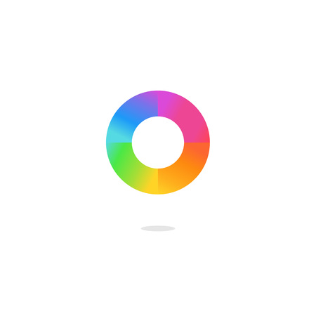 Colorful letter O logo, color wheel and color palette. on white background