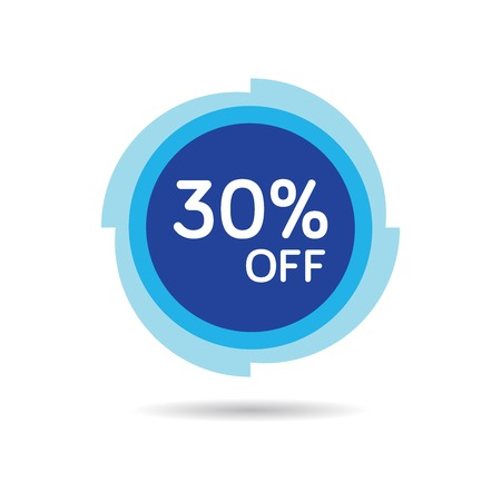 30% OFF Discount Sticker. Sale Blue Tag Isolated Vector Illustration. Discount Offer Price Label, Vector Price Discount Symbol. Vettoriali