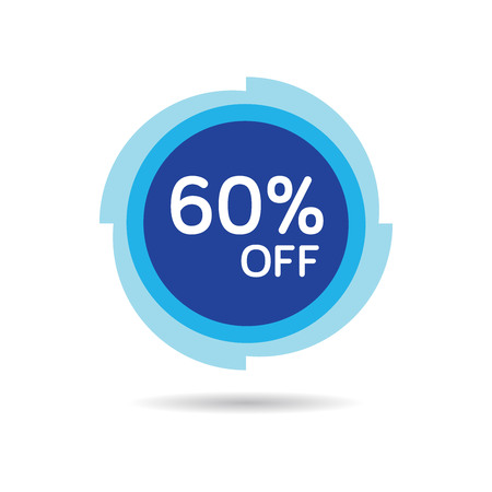 60% OFF Discount Sticker. Sale Blue Tag Isolated Vector Illustration. Discount Offer Price Label, Vector Price Discount Symbol. Ilustração